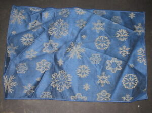 Blue With Silver Snowflakes Polyester Pillow Top Fabric Piece