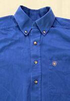 EUC Men's Ariat Long Sleeve Shirt Size S Button Down Pocket Cotton Button Collar