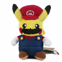 "Pokemon Pikachu Cosplay Mario 9"" Plush Plush Toy Stuffed Animal Figure Doll USA"