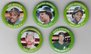 1984 Fun Foods Pins - Athletics - Team Set - Joe Morgan - 5 Pins - NrMt