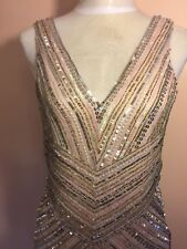 Parker Black Sequined Cocktail Dress In Sand Size 4