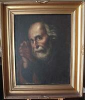 Early 19thC Portrait Penitent Cleric Oil Painting Appears Unsigned c1800/1830
