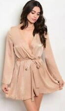Beige/Tan Satin Wrap Dress (Size M)