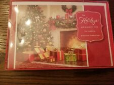 American Greeting Boxed Holiday Cards 16 Christmas Tree, Fireplace