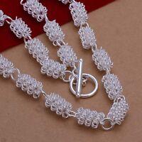 ASAMO Damen Halskette mit Steg Verschluss 925 Sterling Silber plattiert HA1262