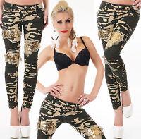 Women Jeans Ladies Camouflage Trouser Gold Sequins Clubbing Pants size 6 8 10 14