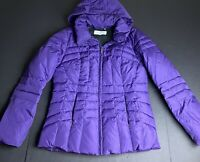 CALVIN KLEIN Puffer Jacket Down Quilted Coat Plum Purple Long Soft Lined Hooded