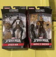 Marvel Legends Lot Spider-Man & Shocker Sandman BAF Black Suit Venom New MIB