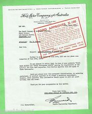 #T44. SHELL OIL PROMOTIONAL RELEASE OF FORD MOTOR COMPANY  1961  LETTER