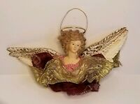 Victorian Style Christmas Ornament Angel Red Gold Lace Ribbon Resin