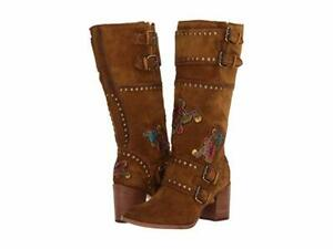 New in Box FRYE Womens Naomi Flower Engineer Boots Embroidered Suede $628