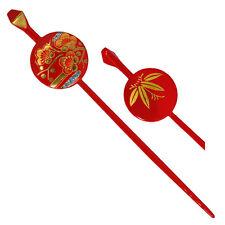 Japanese Hair Ornament Kanzashi Red Ball Stick Golden Plum Blossom Pattern