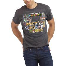Nintendo Super Mario T Shirt Periodic Table, Gray Color, Men Size S