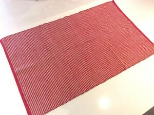 Red Beige Striped Natural Cotton and Jute Mix Handmade Washable Kilim Area Rugs