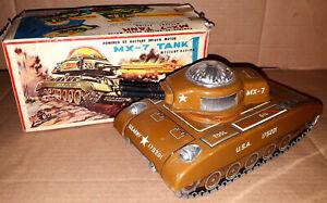 Vintage 50's Daiya MX-7 US ARMY TANK B/O TIN LITHO TOY Mystery Action Box Japan