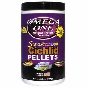 20oz OMEGA ONE SUPER COLOR CICHLID PELLET LARGE, FREE 12-Type Ultra Pellet Blend