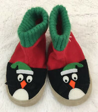 HANNA ANDERSSON Christmas Penguin Leather Soled Toddler Slippers 7-9 EUC Kids