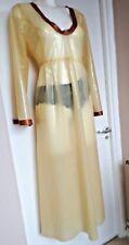 Vestido Largo de Goma de Látex Fetiche Unisex Transparente Natural, Bronce XS S M L XL