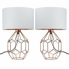 Par de cobre Lámpara De Mesa Lámpara De Cabecera Luces Diseño Moderno Con Pantalla De Blanco