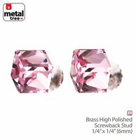 Men's Women's 925 Sterling Silver Crystal 3D Cube Stub Screw Back Earrings PINK