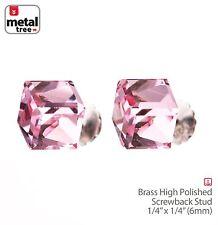 Men's Women's 925 Sterling Silver Crystal 3D Cube Stub Screw Back Earrings Pink