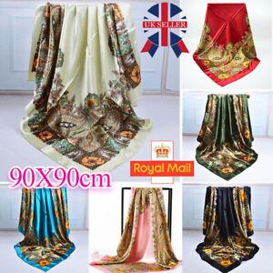 90*90cm Fashion Women Square Shawl Satin Silk Floral Printed Head Neck Scarf