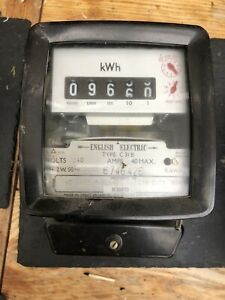 English Electric Vintage Electricity Usage Meter 240v 40A Single Phase KWh