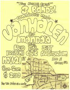VAN HALEN Orig. Handbill/Flyer – Nov. 21st 1975 Pasadena Civic Auditorium