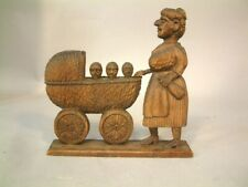 Antique Black Forest Swiss Wood Carving Mother&Three Children in Carriage Look!