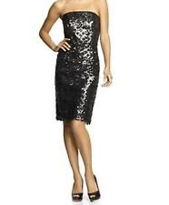 NWT Milly Womens Wiggle Sequin strapless Dress Gunmetal 6 Black
