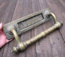 Antique Large and Heavy Brass Letter Box Plate / Mail Slot with Door Handle Pull