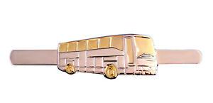 1 Bus Krawattennadeln bicolor teilvergoldet  Aligatormechanik NM0209 2. Wahl