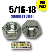 """(Qty 100) 5/16-18 Stainless Steel Finished Hex Nuts 304 / 18-8 5/16""""-18"""