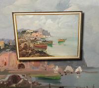 Kroatische Küstenlandschaft. Original altes Ölgemälde Expressionismus Malerei