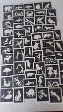 40 animal themed stencils for glitter tattoos / body art / airbrush / face paint