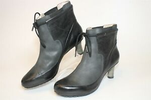 Tsubo Womens Size 9.5 40.5 Leather Drawstring Heeled Ankle Boots 8142-BLPG