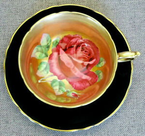 Paragon RARE! Antique Teacup & Saucer Heavy Gold with HUGE Floating Cabbage Rose