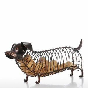 Animal Wine Cork Container Iron Dachshund Figurine Modern Craft Home Accessories