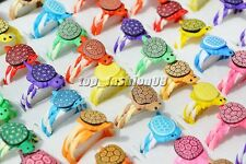 Wholesale Lots 20Pcs Turtle Polymer Clay Children's Rings 16-18mm FREE