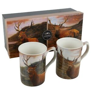 Gift Box Set of 2 China Mugs Atmospheric Stag in Scotland Design by The Leonardo