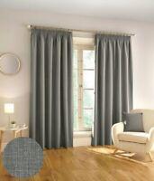 Harvard Woven Textured 3 Pass 100% Blackout Pencil Pleat Curtains Grey