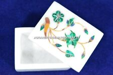 Accent Marble Decoratvie Jewelry Box Malachite Floral Arts Occasional Gift H5488