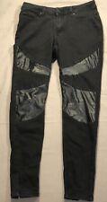 Nicki Minaj Mid Rise Tapered Leg Black Denim Jeans 7/8 Zip Up Ankle Faux Leather