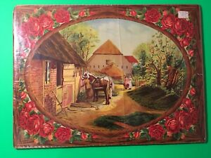 Country Living Farm Barn Cottage with Horses Roses Color LITHOGRAPH PRINT