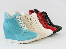 New Fashion Women Wedge Sneaker Shoes Quilted Boots Lace Up Zipper Design