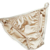 Pure Silk Satin and lace Mini Tanga String Bikini Panties Pale Blue with Ivory Trim Sizes XS to XXL