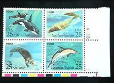 1990 Us Plate Block 2511a! Sea Creatures/Mammals Dolphin Orca Otter! Mint Mnh!