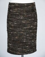 M&S Tweed Pencil Skirt 12 Brown Black Nubby Textured Fleck Collection Wool Blend