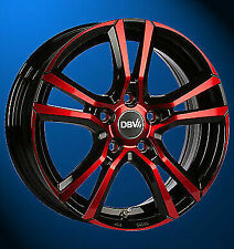 4x NEUE DBV Andorra 6.5J X 16 Zoll LK 5 X 114.3 ET48 schwarz glanz rot eloxiert
