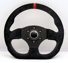 Sport Line Racing Steering Wheel 300mm Competition Black Suede Red Stripe